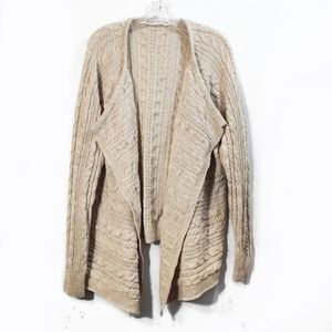 Athleta Wool Cream Open Front Cardigan Sweater 1X